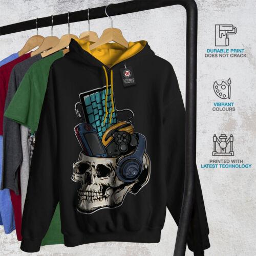cappuccio Men Black oro Gaming Felpa Contrast Pc New con cappuccio Skull Geek HwFA0qFx