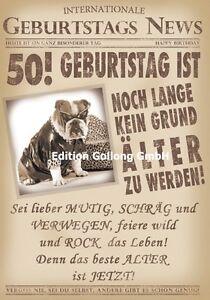 Gluckwunschkarte Zum 50 Geburtstag S News Hund Zeitung Grusskarte Mit
