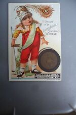 Old Trade Card Willimantic Thread Ye Knight  Ye Silver Thimble Challenges World!