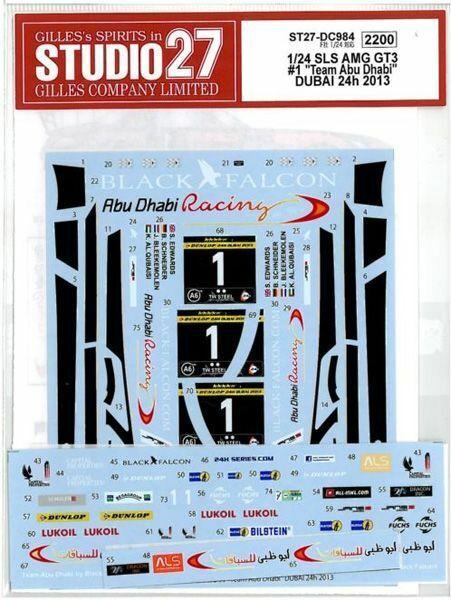 Studio27 1 24 SLS AMG Gt3 Equipo Abu Dhabi Dubai 24h '13 para Fujimi Dc984