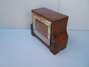 Walnut-mantel-clock-Westminster-Whittington-another-working-key-amp-pen-M15