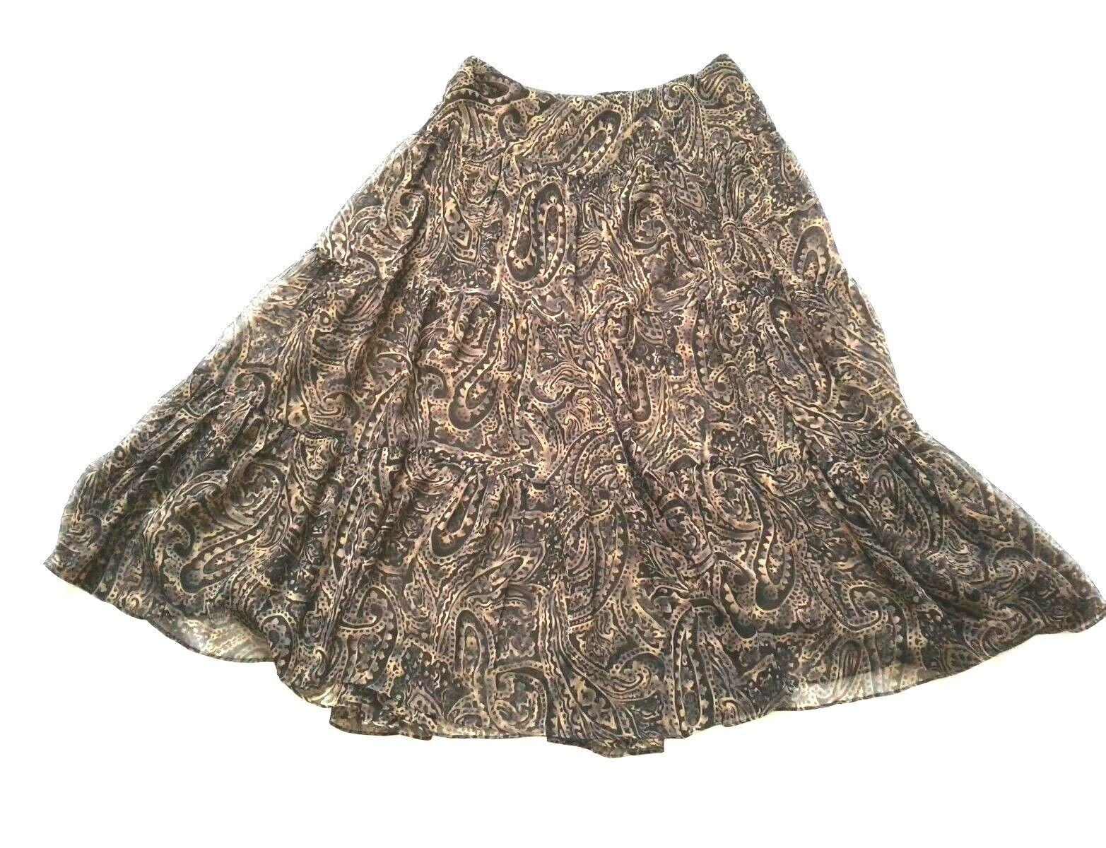 LAUREN RALPH LAUREN Size Small Brown Paisley Elastic Waist 100% SilK Skirt
