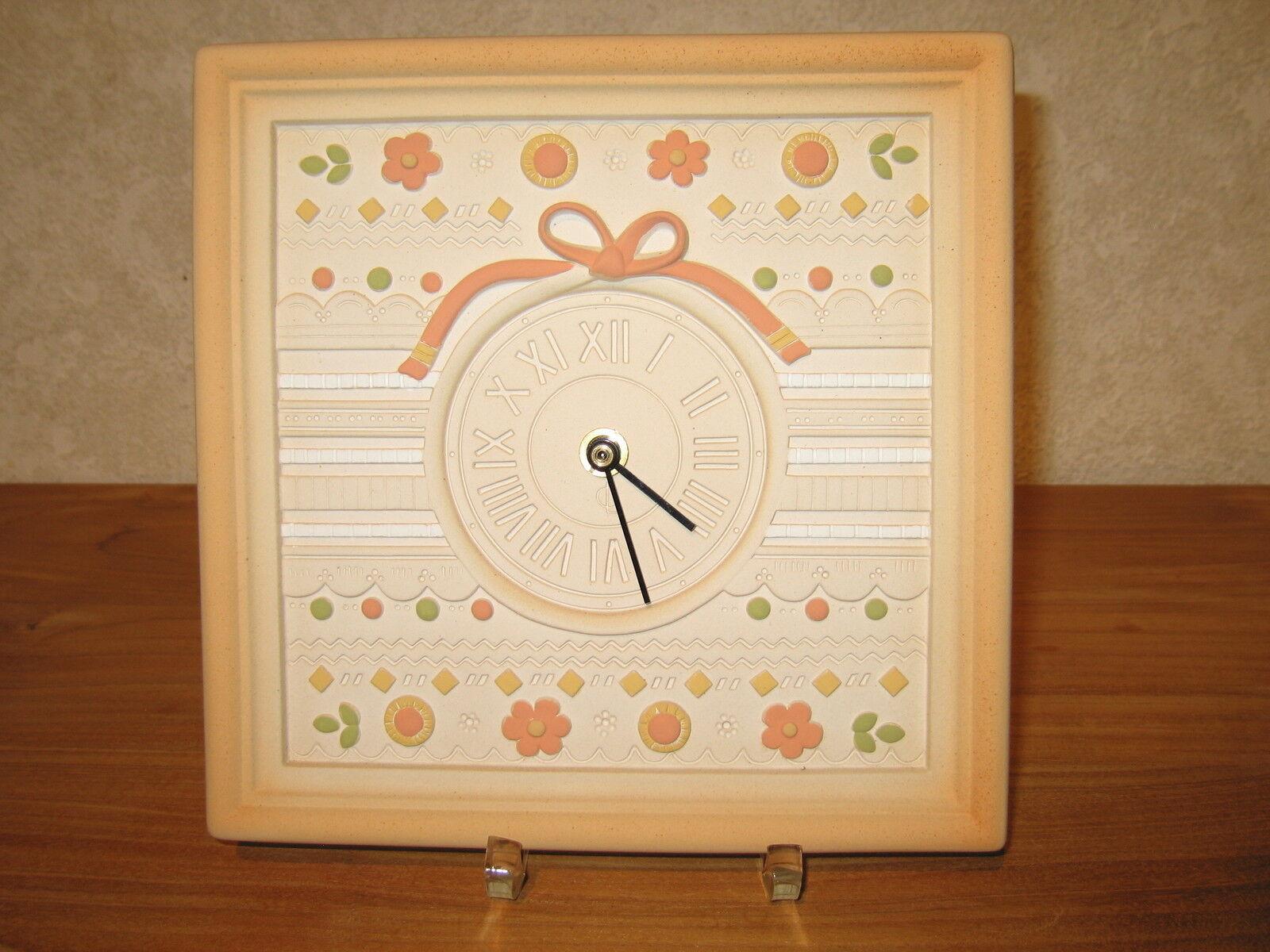 LAFOND CREATIONS NEW Horloge en grès décoré Broderie