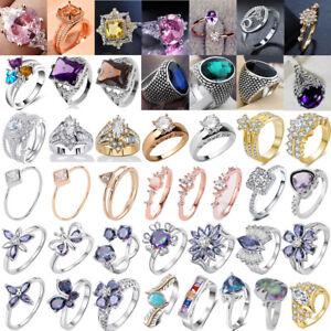 Damen-Ring-Herren-Ring-Band-Ring-Fingerring-Partnerringe-Edelstahl-Kristall-Ring
