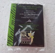 *~*DISNEY WDW UNITED WAY 2003 TINKER BELL LE PIN NEW ON CARD IN PKG.*~*