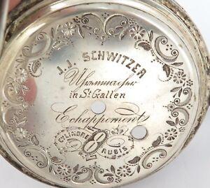 .ANTIQUE HUGE GOLIATH LIKE .800 SILVER J J SCHWITZER FARM THEME POCKETWATCH CASE