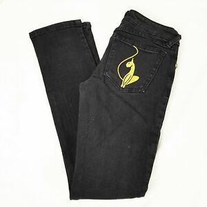 BABY PHAT Black Gold Embroidered Slim Fit Denim Jeans Skinny Pants Cat Hip Hop