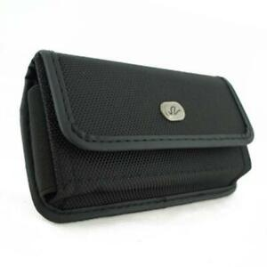 BLACK-HORIZONTAL-RUGGED-CANVAS-SIDE-CASE-COVER-POUCH-BELT-CLIP-for-SMARTPHONES