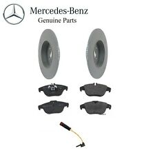 Mercedes W204 C300 Set of 2 Solid Rear Brake Rotors with Pads & Sensor Genuine