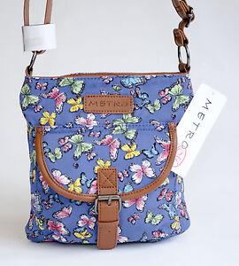 New-Metro-Butterfly-Pattern-Small-Canvas-Cross-Body-Shoulder-Bag-Handbag-Blue