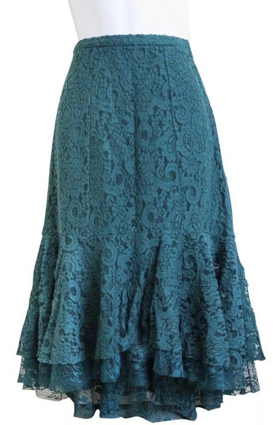 NEW Anthropologie Ruffled Lace Skirt Size 8 Green
