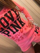 Victoria Secret Love Pink Coral Cheetah Leopard Crew Sweatshirt Sweat Shorts Set