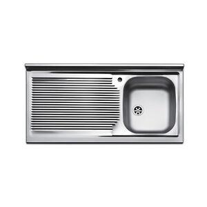 Dettagli su Lavello cucina appoggio acciaio inox 100 cm lavandino con  gocciolatoio sinistro