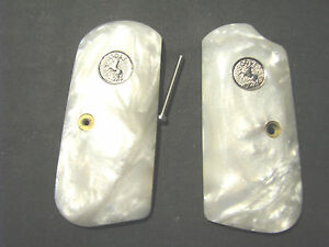Colt-1903-1908-Hammerless-PEARL-Pistol-Grips-Smooth-w-SILVER-Color-Medallions