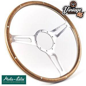 Classic-Car-Genuine-Moto-Lita-15-034-Semi-Dished-Riveted-Wood-Rim-Steering-Wheel