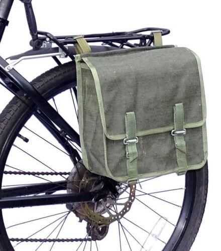 Army Surplus Showerproof Canvas Pannier Bag green bike vintage quality 1980s NOS