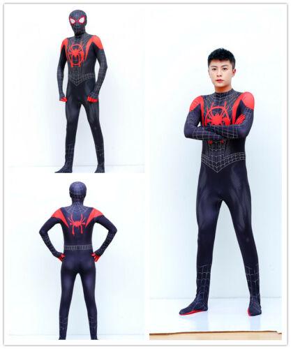 Spider Man Into SuperHero Costume Kids Miles Morales Cosplay Fancy Paty Suit UK