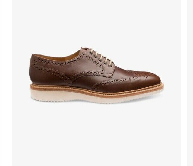 New Mens Loake Brown Cobra Leather Shoes Brogue Lace Up Size 11 G Rrp