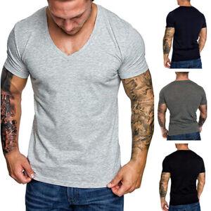 Herren-Shirts-V-Neck-Basic-V-Ausschnitt-Long-Shirt-Kurzarm-Sport-T-Shirt-Tops