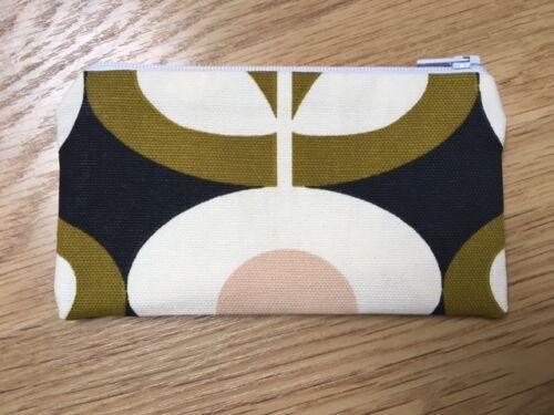 Fatto a mano portamonete realizzato utilizzando ORLA KIELY Tessuto Fiore Ovale Seagrass
