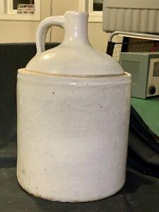 Antique Salt Glazed Stoneware Crock Shoulder Moonshine Jug Early 1900s