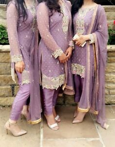 b3d535ca28 Image is loading Asian-Pakistani-Indian-Wedding-Lavender-Lilac-Dress