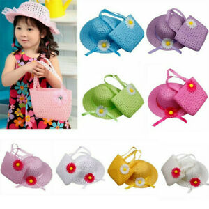 Summer-Sun-Hat-Girls-Kids-Straw-Cap-Beach-Hats-Flower-Decor-Handbag-Kits-CN99