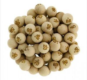 90 boules de Loto numerotees en Bois diametre 22 mm utilisable Bingo balls 910
