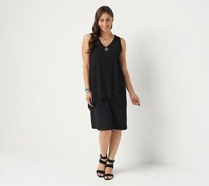 Susan-Graver-Regular-Liquid-Knit-Sleeveless-Tiered-Dress-SIZE-S-BLACK