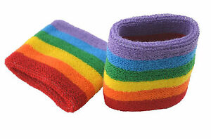 City Terry Wristband-1 Pair(2pcs)-rainbow