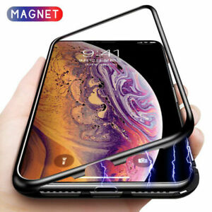 Metal-Magnetic-Adsorption-Case-For-iPhone-8-7-XS-XR-Luxury-Tempered-Glass-Cover
