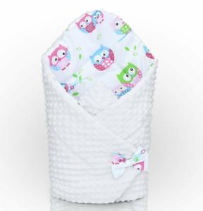 Envoltura swaddle bebé recién nacido hoyuelo Cama Infantil Blanco//Blanco Búhos