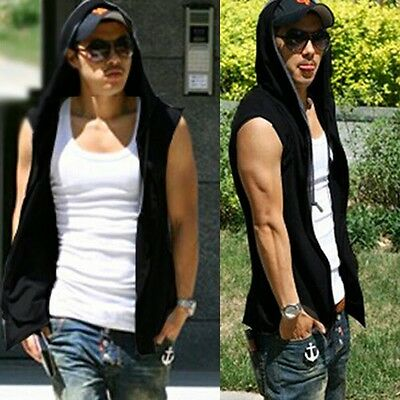 Men Sleeveless Hooded Sweats Tops Solid T-Shirts Hoodies Zipper Pockets Cardigan