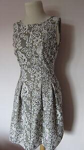 Zara-Tulip-Jacquard-dress-cream-beige-grey-bnwot-XS-S-M-8-10-12
