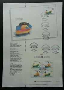 SJ-Portugal-CEPT-Children-039-s-Toys-1989-Boat-Water-Transport-ms-on-info-sheet