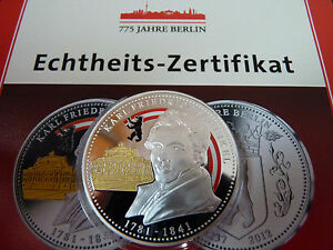 Farbmedaille-775-Jahre-Berlin-Karl-Friedrich-Schinkel-mit-Zertifikat