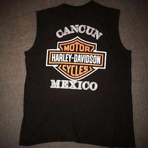 Harley Davidson Cancun Mexico Free Spirit Shredder Shirt Sleeveless Tshirt L