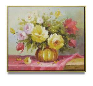 NY-Art-Impressionist-Summer-Flowers-Still-Life-20x24-Oil-Painting-with-Frame