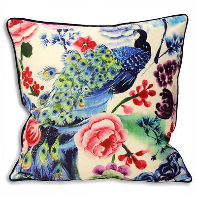 Paoletti Akita Floral Cushion Cover, Royal Blue, 50 x 50 Cm
