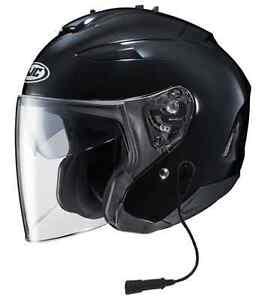 hjc open face helmet black with headset harley davidson goldwing or bmw ebay. Black Bedroom Furniture Sets. Home Design Ideas