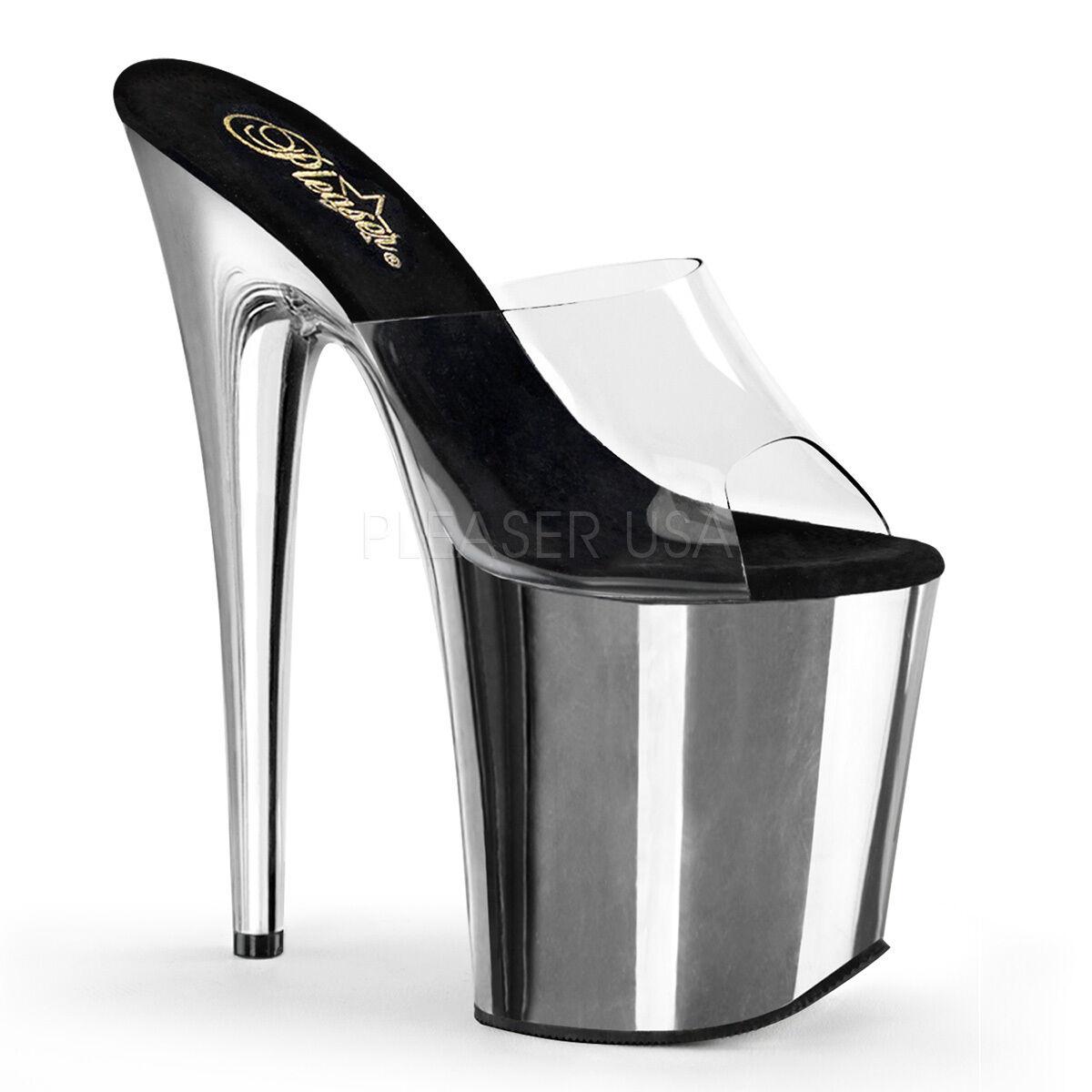 Sexy Silver Chrome Platform shoes 8  Stripper High Heels PLEASER FLAM801 C SCH