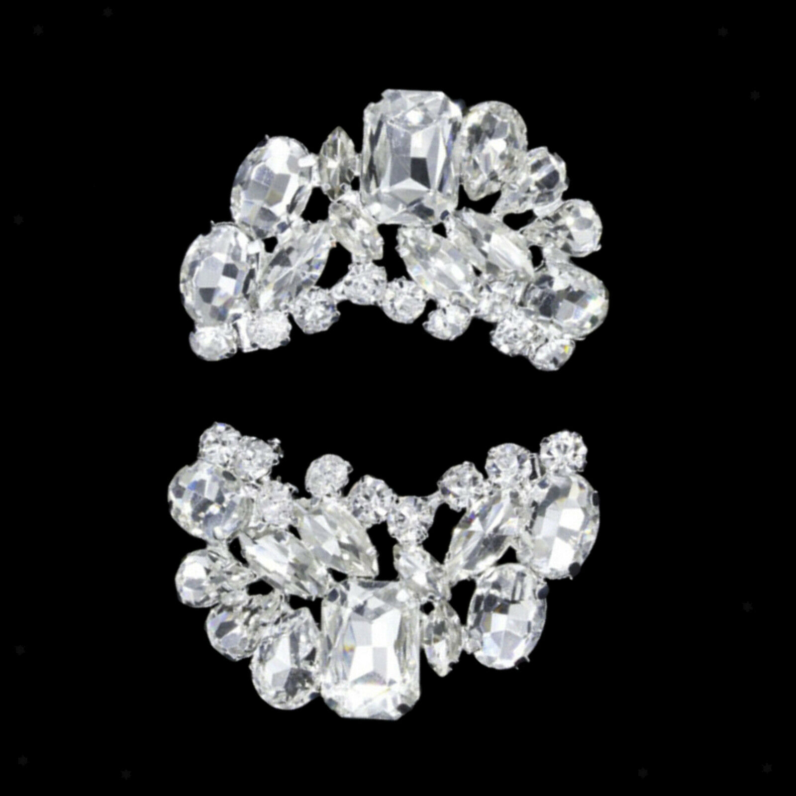 2x Rhinestone Crystal Shoe Clips Womens Weddings Bridal Shoe Buckle Charms