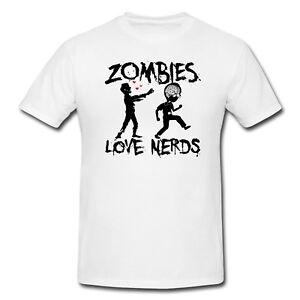 T-Shirt ZOMBIES LOVE NERDS FUNNY MAGLIA MAGLIETTA FELPA HAPPINESS