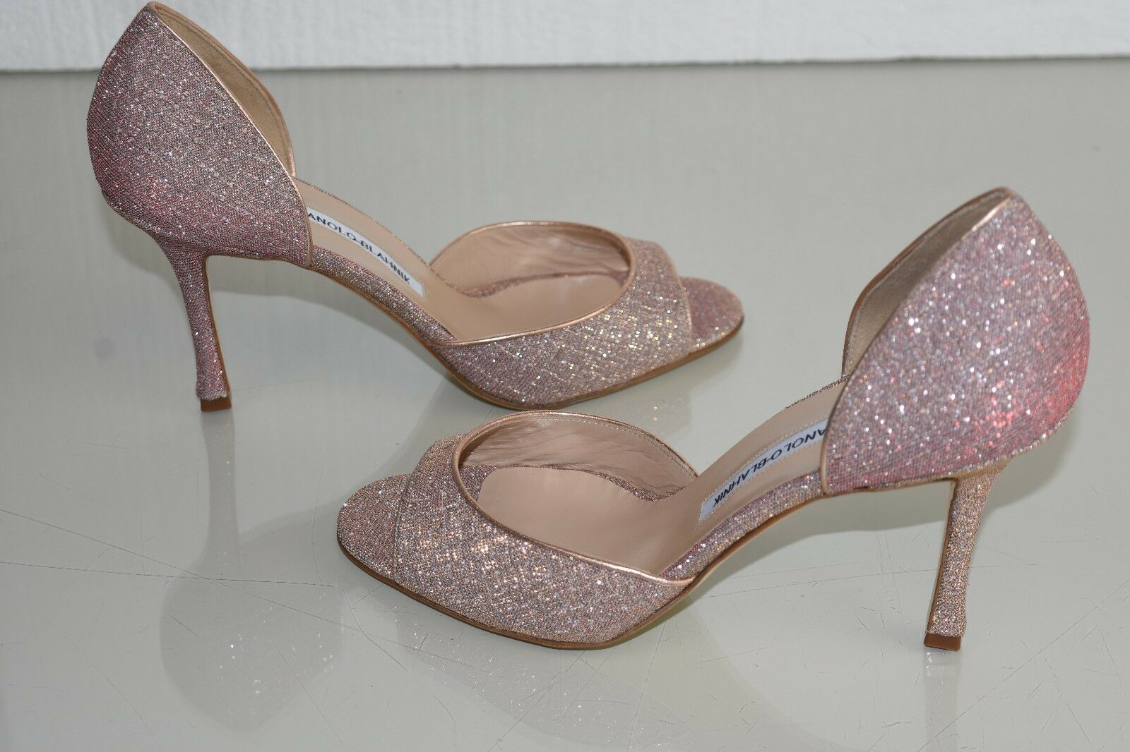 765 New Manolo Blahnik CASAMADO PUMPS Dorsay Glitter NUDE Pink shoes 40.5