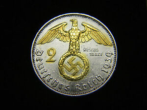 Old German Reich Silver COIN 1937-1939 WWII w//Sw +RARE STAMP