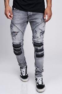 Jeans-Uomo-Biker-Pantaloni-Stonewash-Destroyed-Denim-Skinny-Fit-John-Kayna