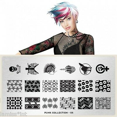 MoYou London PUNK 5 Collection Stamping Schablone, Totenkopf Stern Knochen