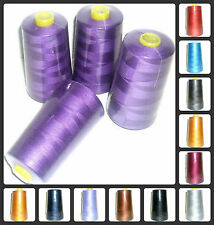 5000 YARDS WHITE SEWING THREAD 120s SPUN POLYESTER OVERLOCKING X4 CONES