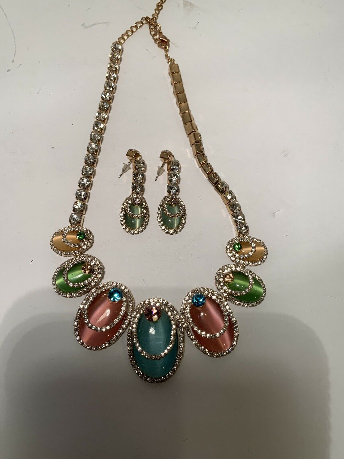 Wonderful Antique Bib Necklace Enamel and Multicolor Glass