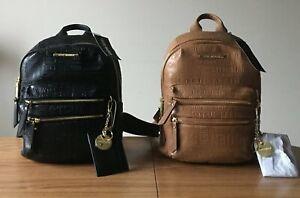 Steve-Madden-BMIDI-Prep-Backpack-w-Printed-Logo-PVC-Saddle-Black-See-Note-NWT